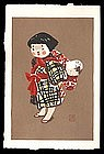Kiyoshi Saito Woodblock - Children of Aizu