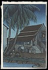 Elizabeth Keith Woodblock - House - Malacca