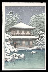 Hasui Woodblock - Ginkakuji Temple in Snow