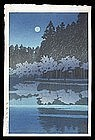 Hasui Woodblock - Spring Night at Inokashira