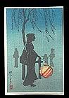 Shotei Hiroaki Woodblock - Woman at Night