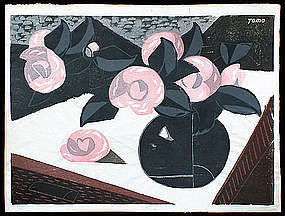 Early Tomoo Inagaki Woodblock - Camellias on the Table