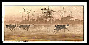 Toshi Yoshida Woodblock - One Day in East Africa #4