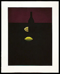 Yozo Hamaguchi Mezzotint  - Bottles with Lemon