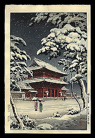 Early Edition Koitsu Woodblock: Zozoji - Snow