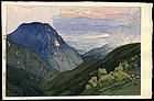Original  Yoshida Woodblock - Otenjo - Japanese Alps