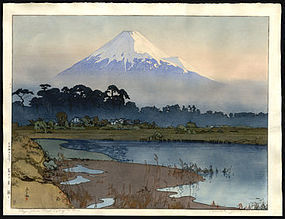Oversized  Yoshida Woodblock - Fujiyama at First Light