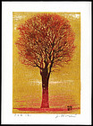 Beautiful Joichi Hoshi Woodblock - Evening Tree (Red)