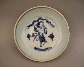 A Ming Saucer Dish With Figure