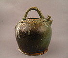 A Rare Tang Dynasty Green Glaze Ewer With Mark