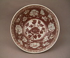 A Rare Early Ming Dynasty Underglaze-Red Large Bowl