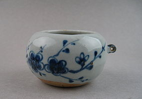 A Rare Yuan Dynasty B/W Bird Feeder With Plum Scrolls