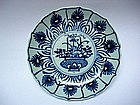 Blue & White Small Dish With Aster