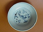 A Rare Blue & White Saucer Dish With Fish