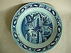A Fine Detailed Late Ming Blue & White Plate