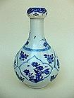 CHING KANGXI BLUE & WHITE GARLIC HEAD VASE