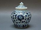A Nice Ming 15th Century B/W Jar With Lid