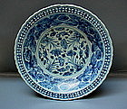 A Rare Example Of Ming B/W Large Dish With Four Fishes