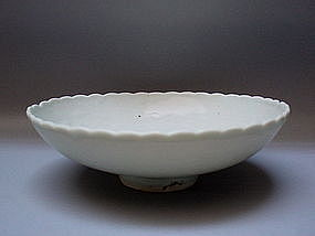 YUAN DYNASTY 'SHUFU' TYPE WHITE DISH WITH DRAGON