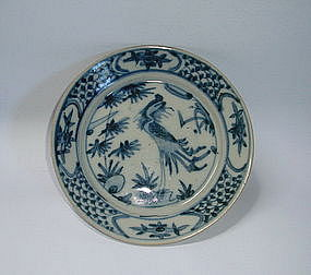 A Swatow Type B&W Dish With Phoenix