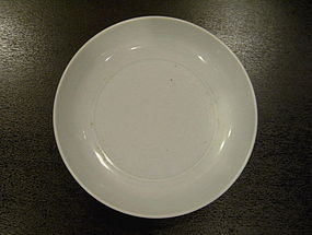 A FINE LARGE MING DYNASTY WHITE GLAZE DISH (34cm)