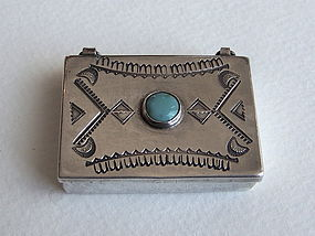 Navajo Silver and Turquoise Pill Box or Snuff Box
