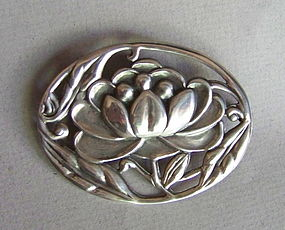 Art Nouveau Sterling Silver Water Lily Pin