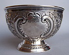 English Victorian Sterling Silver Repousse Footed Bowl