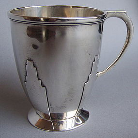 English Art Deco Sterling Silver Skyscraper Cup