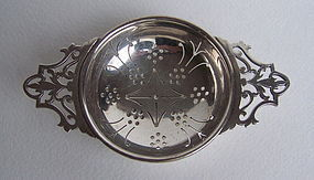 Chinese Export Silver Tea Strainer
