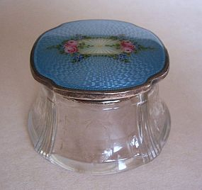 Guilloche Enamel, Silver, Engraved Glass Dresser Jar