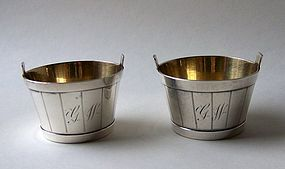 Pair of Sterling Silver Bushel Basket Salt Dips