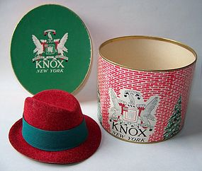 Miniature Knox Felt-like Hat and Hat Box, Mid-Century