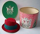 Miniature Knox Felt-like Hat and Hat Box, Mid-Century