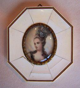 Ivory Portrait Miniature of Madame Pompadour, signed