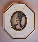 Ivory Portrait Miniature of Madame Pompadour, signed