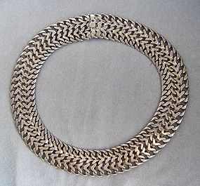 Vintage Mexican Sterling Silver Mesh Choker Necklace