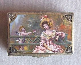 Silver and Enamel Hinged Pill Box, Lady and Cupid