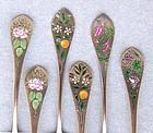 6 Enamel Silver Gilt Demitasse Spoons, Mechanics/Watson