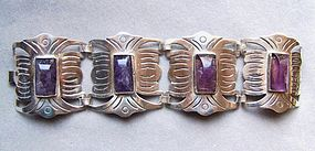 Vintage Mexican Amethyst and Silver Bracelet