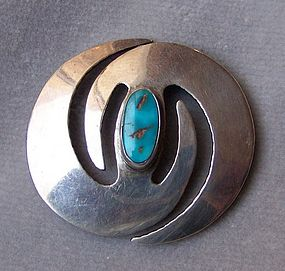 American Indian Silver and Turquoise Brooch