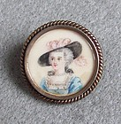 Painted Portrait Miniature of a Lady, Silver Frame, Pin