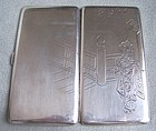 Japanese Geisha Silver Cigarette or Card Case