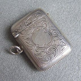 English Silver Vesta Match Safe, Birmingham, 1919