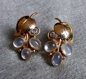 Pair of Retro Yellow Gold and Moonstone Earrings