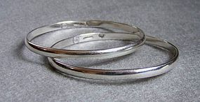 Pair of Vintage Mexican Silver Bangle Bracelets