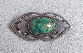 Arts and Crafts Period Green Stone and Silver Pin