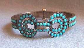 Victorian Gold and Turquoise Hinged Bracelet