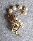 Vintage Mod 14KT Gold and Pearl Brooch, c. 1960
