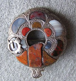 Victorian Scottish Agate or Pebble Brooch Buckle
